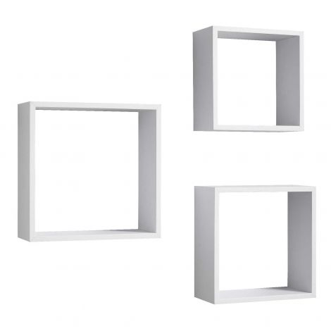 Set van 3 wandrekken Shelvy vierkant - wit