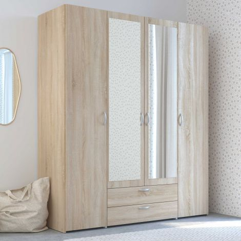 Opbergkast Salvador spiegels, 4 deuren & 2 laden - sonoma eik