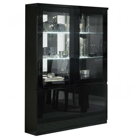 Vitrinekast Roma 4 deuren - zwart