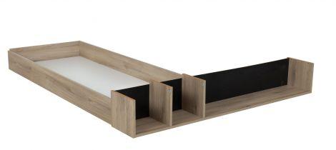 Bedlade met open vakken voor bed Castle 160x200 - eik/zwart