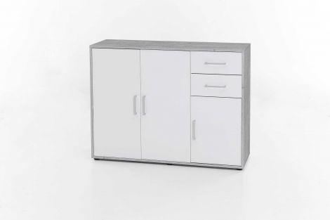 Kast Maxi-office 3 deuren & 2 laden - beton/wit