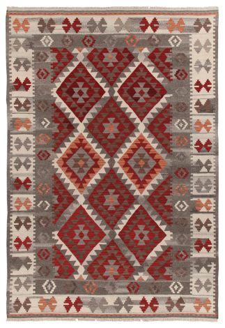Vloerkleed Kilim Zagros Red/Grey/Iv 200x140