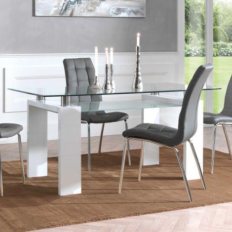 Eettafel Eline 160x80 - hoogglans wit