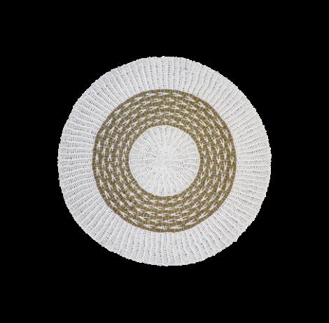 Vloerkleed Malibu ø150cm raffia/zeegras – naturel/wit