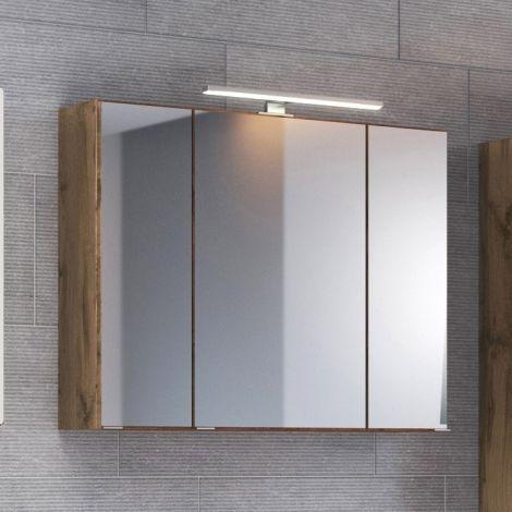 Spiegelkast Luna 60cm met 3 deuren en ledverlichting - eik
