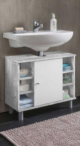 Wastafelonderkast Benja 1 deur & 6 vakken - wit/beton