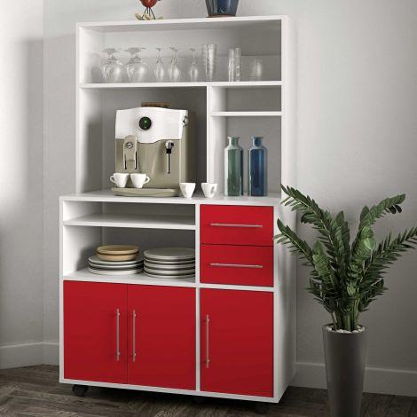 Keukenkast Cesar voor magnetron - wit/rood