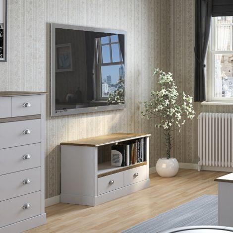 Tv-meubel Silia 100cm met 2 lades - wit/natuur