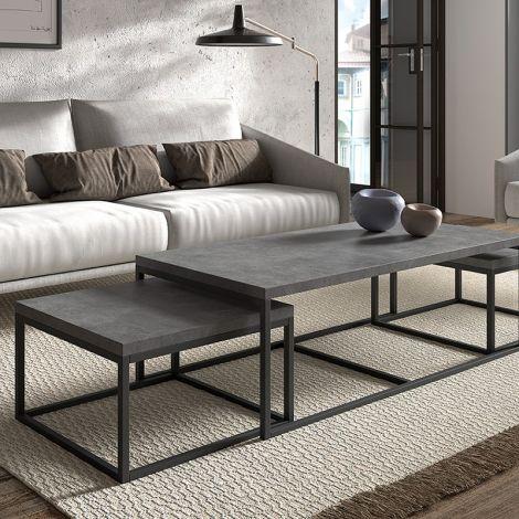 Set van 3 salontafels Jenna industrieel - beton
