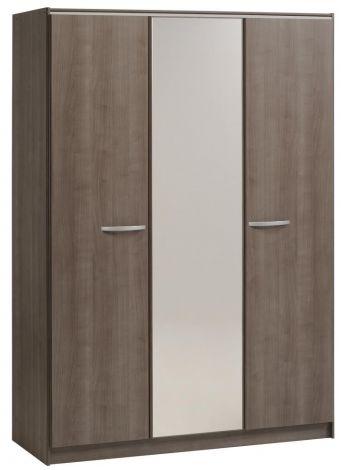 Kledingkast Evo 139cm met 3 deuren & spiegel - walnoot