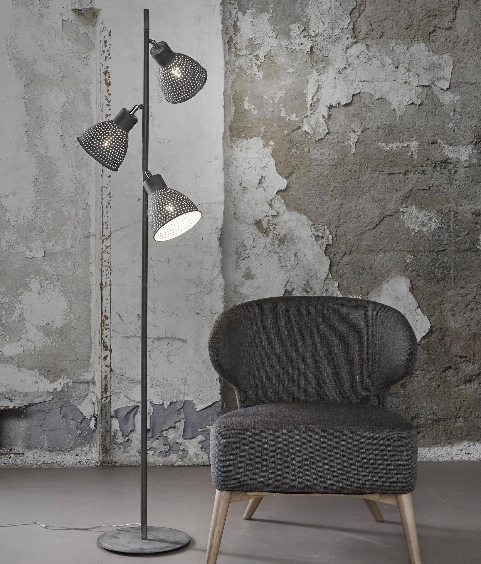 Vloerlamp 3L aged iron - Grijs